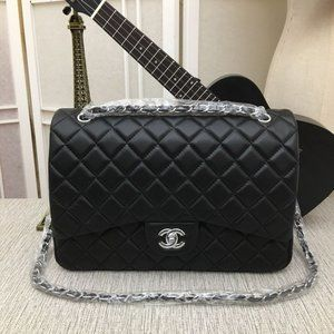 Double C 33CM Flap Caviar Skin Black Silver
